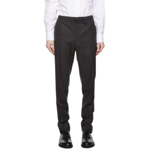 Ermenegildo Zegna Grey Wool Drawstring Trousers