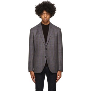 Etro Grey Check Wool Blazer