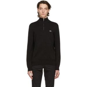 Lacoste Black Tricot Half-Zip Sweatshirt
