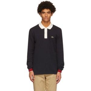 Lacoste Navy Collar Stripe Long Sleeve Polo