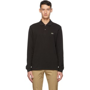 Lacoste Black Pique Long Sleeve Polo