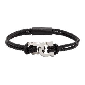 Salvatore Ferragamo Black Woven Gancio Bracelet