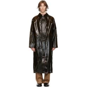 KASSL Editions Brown Coated Wool Original Long Coat