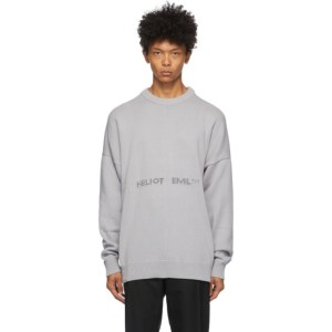 HELIOT EMIL Grey Oversized Logo Sweater