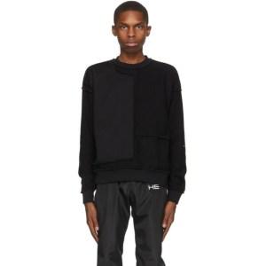 HELIOT EMIL Black Paneled Crewneck Sweatshirt