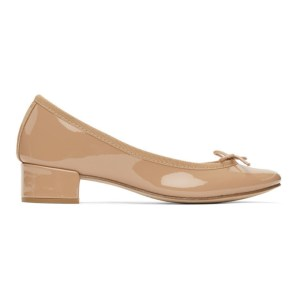 Repetto Beige Patent Ballerina Heels