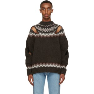 Stefan Cooke Brown and Off-White Wool Slashed Sweater