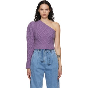 Wandering SSENSE Exclusive Purple Single-Shoulder Cable Cropped Sweater