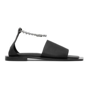 Flat Apartment Black Chain Strap Sandals