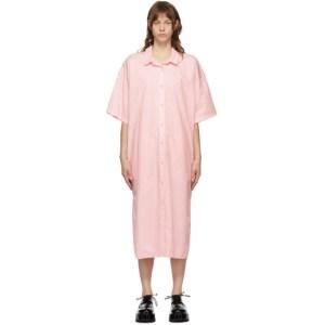 Juun.J Pink Oversized Button Down Shirt Dress