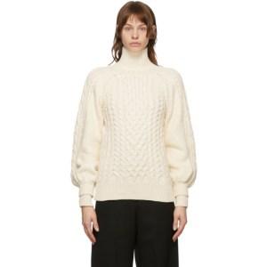 Juun.J Off-White Heavy Knit Scarf Sleeve Turtleneck