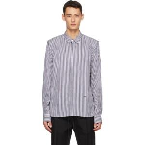 Juun.J Navy and White Poplin Stripe Shirt