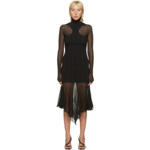 Mugler Black Sheer Peaking Long Sleeve Dress