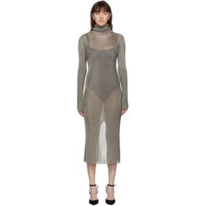 Mugler Bronze Mouline Turtleneck Dress
