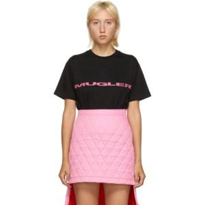 Mugler SSENSE Exclusive Black and Pink Logo Oversized T-Shirt