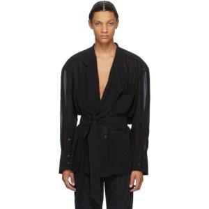 Mugler Black Chiffon Wrap Shirt