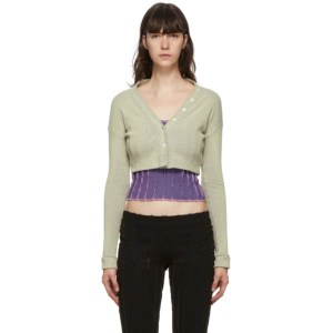 Helenamanzano SSENSE Exclusive Off-White and Blue Scarf Cardigan