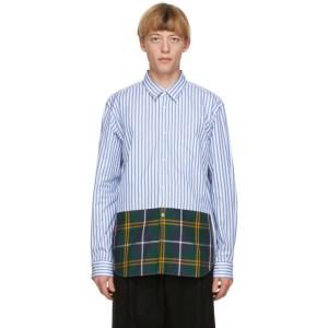 Comme des Garcons Homme Plus Blue and White Striped Tartan Shirt