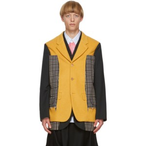 Comme des Garcons Homme Plus Black and Yellow Wool Blazer