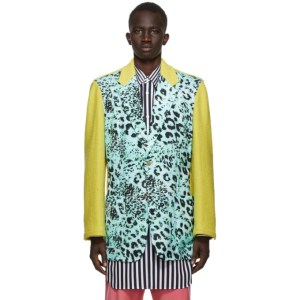 Comme des Garcons Homme Plus Yellow and Blue Animal Print Blazer