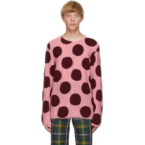Comme des Garcons Homme Plus Pink and Burgundy Worsted Yarn Intarsia Sweater