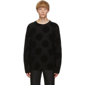 Comme des Garcons Homme Plus Black Worsted Yarn Intarsia Sweater
