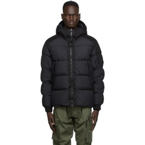 C.P. Company Black Down Nylon Hooded Jacket