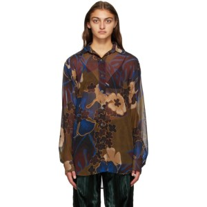 Dries Van Noten Brown and Multicolor Crepe Floral Shirt