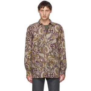 Dries Van Noten Brown and Purple Quilted Shirt