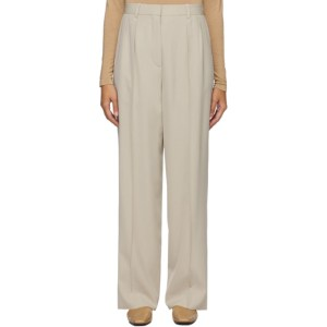 The Row Beige Wool Phoebe Trousers