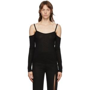 Ann Demeulemeester Black Cold Shoulder Long Sleeve T-Shirt