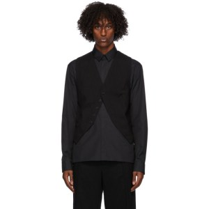 Ann Demeulemeester Black Wool Waistcoat