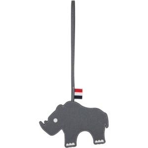 Thom Browne Grey Leather Rhino Keychain