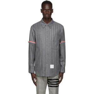 Thom Browne Grey Stripe Armband Snap Front Jacket