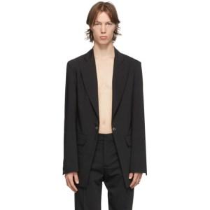 Ludovic de Saint Sernin Black Wool Eyelet Suit Blazer