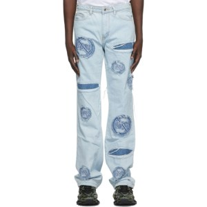 Who Decides War by MRDR BRVDO Blue Anti-666 Logo Jeans
