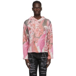 Who Decides War by MRDR BRVDO Off-White and Multicolor Overlay Cable Knit Hoodie