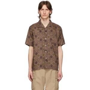 BEAMS PLUS Brown Flax Batik Print Shirt