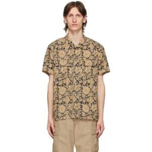 BEAMS PLUS Brown Open Collar Block Print Shirt