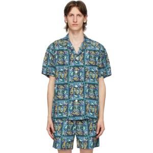 BEAMS PLUS Blue Beach Batik Print Shirt