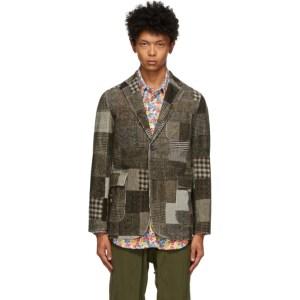 BEAMS PLUS Grey Corduroy Patchwork Print Blazer