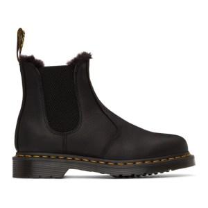 Dr. Martens Black 2976 Fur-Lined Chelsea Boots