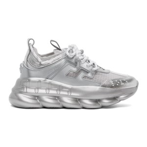 Versace Silver and White Chain Reaction Sneakers
