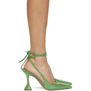 Amina Muaddi Green Karma Pumps