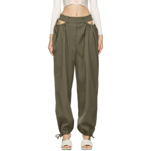 Dion Lee Khaki Gathered Tie Pants