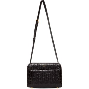 Saint Laurent Black Croc Reversed Satchel Bag