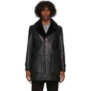 Saint Laurent Black Shearling Oversize Coat