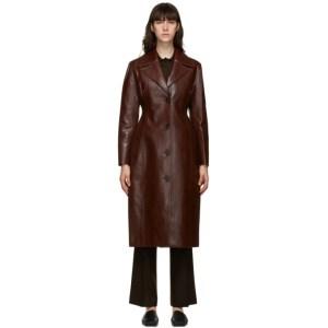 LVIR Burgundy Faux-Leather Single-Breasted Coat
