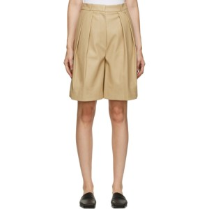 LVIR Beige Faux-Leather Pleated Shorts