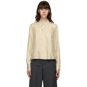 LVIR Beige Wrinkled Satin Shirt